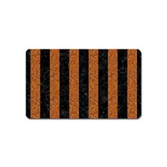 Stripes1 Black Marble & Rusted Metal Magnet (name Card)