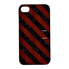 Stripes3 Black Marble & Reddish Brown Wood Apple Iphone 4/4s Hardshell Case With Stand