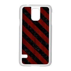 Stripes3 Black Marble & Reddish Brown Wood Samsung Galaxy S5 Case (white)