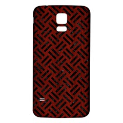 Woven2 Black Marble & Reddish Brown Wood Samsung Galaxy S5 Back Case (white)