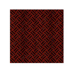 Woven2 Black Marble & Reddish Brown Wood Small Satin Scarf (square)
