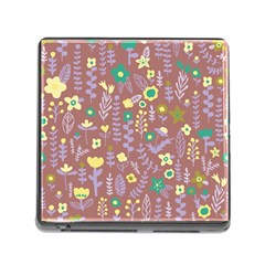 Cute Doodle Flowers 3 Memory Card Reader (square)