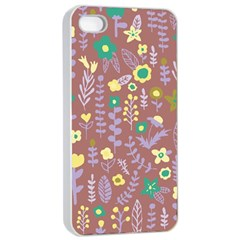 Cute Doodle Flowers 3 Apple Iphone 4/4s Seamless Case (white)