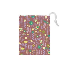 Cute Doodle Flowers 3 Drawstring Pouches (small)