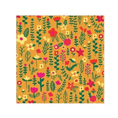 Cute Doodle Flowers 4 Small Satin Scarf (square)
