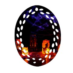 Awaiting Halloween Night Oval Filigree Ornament (two Sides)