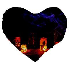 Awaiting Halloween Night Large 19  Premium Heart Shape Cushions