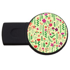 Cute Doodle Flowers 5 Usb Flash Drive Round (2 Gb)