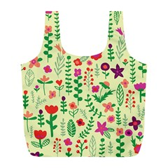 Cute Doodle Flowers 5 Full Print Recycle Bags (l)