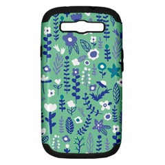 Cute Doodle Flowers 9 Samsung Galaxy S Iii Hardshell Case (pc+silicone)
