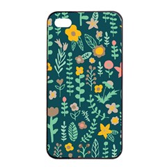 Cute Doodle Flowers 10 Apple Iphone 4/4s Seamless Case (black)