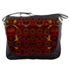 Pumkins  In  Gold And Candles Smiling Messenger Bags