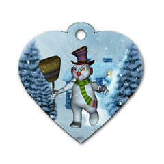 Funny Grimly Snowman In A Winter Landscape Dog Tag Heart (two Sides)