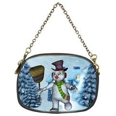 Funny Grimly Snowman In A Winter Landscape Chain Purses (two Sides)