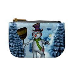 Funny Grimly Snowman In A Winter Landscape Mini Coin Purses