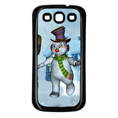 Funny Grimly Snowman In A Winter Landscape Samsung Galaxy S3 Back Case (black)