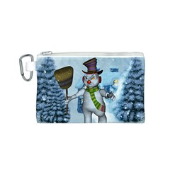 Funny Grimly Snowman In A Winter Landscape Canvas Cosmetic Bag (s)