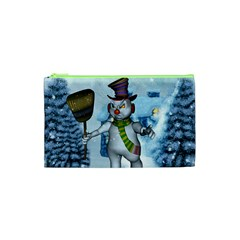 Funny Grimly Snowman In A Winter Landscape Cosmetic Bag (xs)