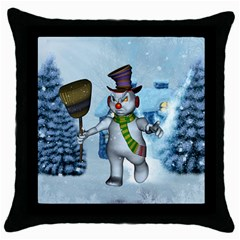 Funny Grimly Snowman In A Winter Landscape Throw Pillow Case (black)