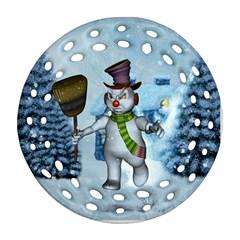 Funny Grimly Snowman In A Winter Landscape Ornament (round Filigree)