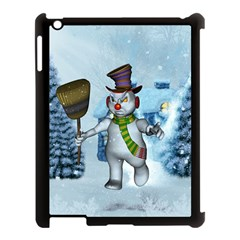Funny Grimly Snowman In A Winter Landscape Apple Ipad 3/4 Case (black)