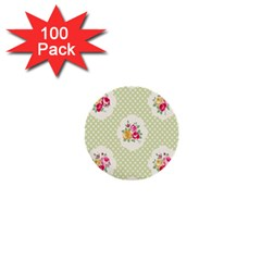 Green Shabby Chic 1  Mini Buttons (100 Pack)