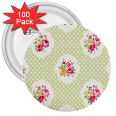 Green Shabby Chic 3  Buttons (100 Pack)