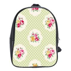 Green Shabby Chic School Bag (xl)