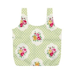 Green Shabby Chic Full Print Recycle Bags (m)