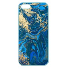 Ocean Blue Gold Marble Apple Seamless Iphone 5 Case (color)