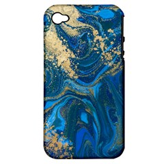 Ocean Blue Gold Marble Apple Iphone 4/4s Hardshell Case (pc+silicone)