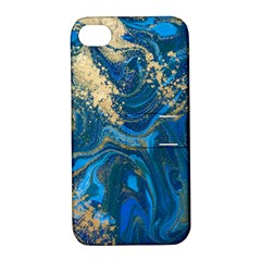 Ocean Blue Gold Marble Apple Iphone 4/4s Hardshell Case With Stand