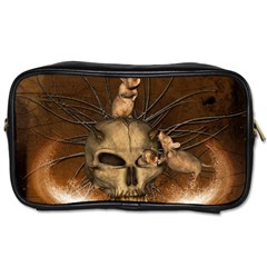 Awesome Skull With Rat On Vintage Background Toiletries Bags