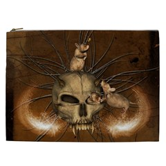 Awesome Skull With Rat On Vintage Background Cosmetic Bag (xxl)