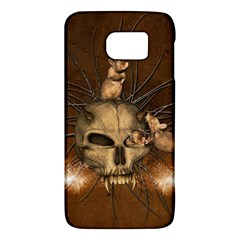 Awesome Skull With Rat On Vintage Background Galaxy S6