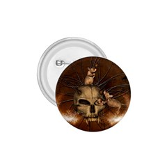 Awesome Skull With Rat On Vintage Background 1 75  Buttons
