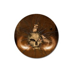 Awesome Skull With Rat On Vintage Background Magnet 3  (round)