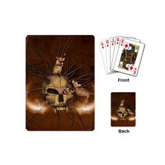 Awesome Skull With Rat On Vintage Background Playing Cards (mini)