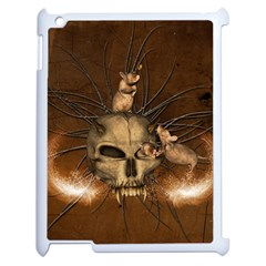 Awesome Skull With Rat On Vintage Background Apple Ipad 2 Case (white)