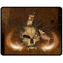 Awesome Skull With Rat On Vintage Background Double Sided Fleece Blanket (medium)