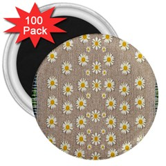 Star Fall Of Fantasy Flowers On Pearl Lace 3  Magnets (100 Pack)