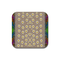 Star Fall Of Fantasy Flowers On Pearl Lace Rubber Coaster (square)