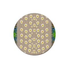 Star Fall Of Fantasy Flowers On Pearl Lace Magnet 3  (round)