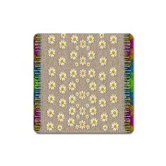 Star Fall Of Fantasy Flowers On Pearl Lace Square Magnet