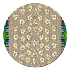 Star Fall Of Fantasy Flowers On Pearl Lace Magnet 5  (round)