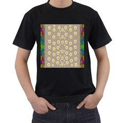 Star Fall Of Fantasy Flowers On Pearl Lace Men s T Shirt (black) (two Sided)