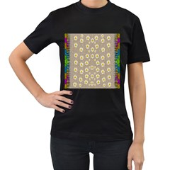 Star Fall Of Fantasy Flowers On Pearl Lace Women s T Shirt (black) (two Sided)