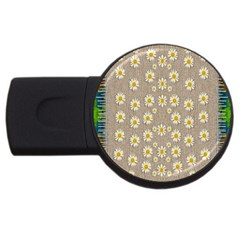 Star Fall Of Fantasy Flowers On Pearl Lace Usb Flash Drive Round (4 Gb)