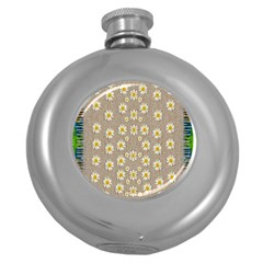Star Fall Of Fantasy Flowers On Pearl Lace Round Hip Flask (5 Oz)