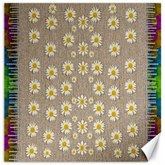 Star Fall Of Fantasy Flowers On Pearl Lace Canvas 16  X 16